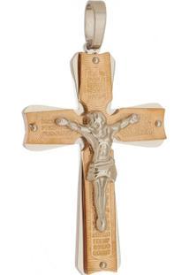 Pingente Crucifixo Grande Tudo Joias Rosê De Aço Inox - Unissex-Prata