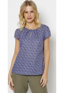 Blusa Floral Com Recortes Vazados- Roxa Azul- Vip Vip Reserva