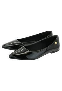 Sapatilha Feminina Donatella Shoes Bico Fino Lisa Básica Verniz Preto