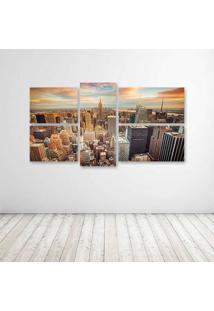 Quadro Decorativo - Houses Usa Megapolis New York City - Composto De 5 Quadros