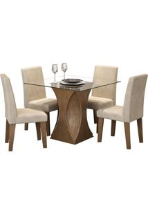Sala De Jantar Andréia 100Cm Com 4 Cadeiras Savana Sued Bege