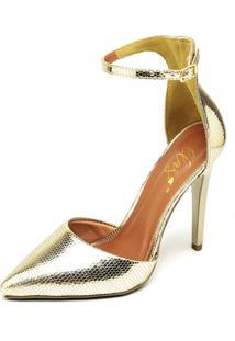 Scarpin Casual Salto Alto Metalizado Ellas Online Dourado - Tricae