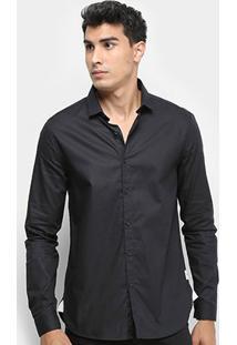 Camisa Manga Longa Calvin Klein Etiqueta Re Issue Masculina - Masculino-Preto