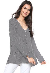 Camisa Lily Fashion Listrada Preta