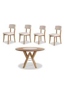 Conjunto Petani Mesa Tampo Giratorio Vidro Branco + 4 Cadeiras Estofado Branco 120Cm - 59618 Branco