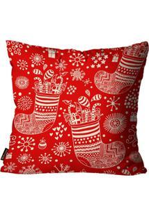 Capa Para Almofada Mdecore Natal Botas Vermelha 45X45Cm