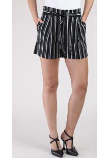 Short Feminino Clochard Cintura Alta Listrado Com Bolsos E Faixa Para Amarrar Preto