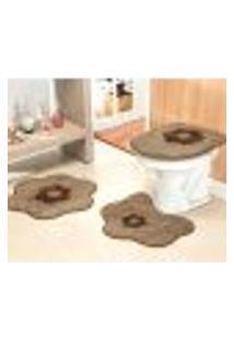 Tapete Para Banheiro 3 Peças Antiderrapante Marrom Margaridas