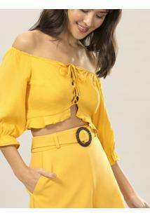 Blusa Cropped Ciganinha Amarelo Caramelo - Lez A Lez