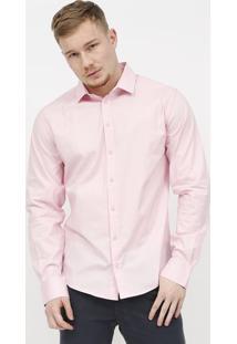 Camisa Slim Com Bordado - Rosa Claro - Colccicolcci