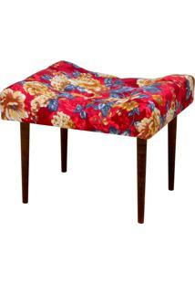 Puff Decorativo Lyam Decor Requinte Vermelho Estampado