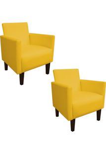 Kit 02 Poltrona Decorativa Compacta Jade Corino Amarelo Com Pés Baixo Chanfrado - D'Rossi
