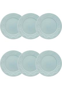Conjunto 6 Pratos De Sobremesa Oxford Serena Essence Cerâmica Azul