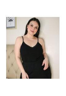 Blusa De Pijama Com Decote V E Detalhes Em Renda Curve & Plus Size   Ashua Curve E Plus Size   Preto   G