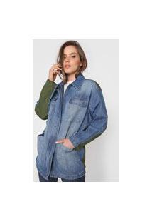 Jaqueta Jeans Colcci Bolsos Azul/Verde