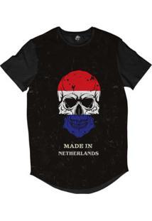Camiseta Longline Bsc Caveira País Holanda Sublimada Masculina - Masculino-Preto