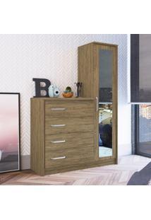 Cômoda Decibal Cm4141 Com Espelho 1 Porta 4 Gavetas Wood