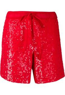P.A.R.O.S.H. Shorts Com Paetês - Vermelho