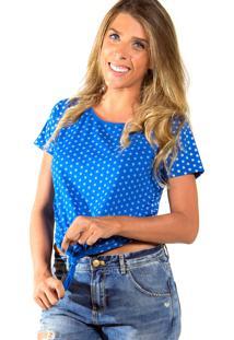 Camiseta Mary Lemon Poá Azul
