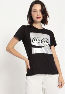 """Camiseta """"Enjoy"""" Metalizada- Preta & Prateada- Coca-Coca-Cola"""