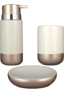 Kit Banheiro Saboneteira Lavabo Acessório Pia Gold White Porcelana Porta Sabonete Líq Escova 3Pç