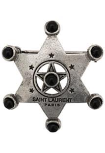 Saint Laurent Broche Com Estrela - Prateado