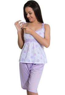 Pijama Linha Noite De Malha Pescador Feminino - Feminino-Lilás