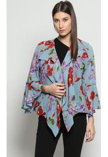 Casaqueto Floral - Azul Calro & Vermelho - Linho Finlinho Fino