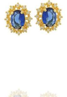 Brinco Dona Diva Semi Joias Princesa Oval Feminino - Feminino-Dourado+Azul
