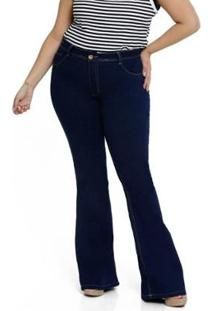 Calça Jeans Plus Size Biotipo Flare Feminino - Feminino-Azul