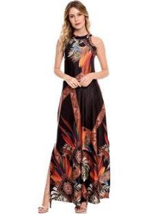 Vestido Bisô Longo Pena - Feminino-Preto