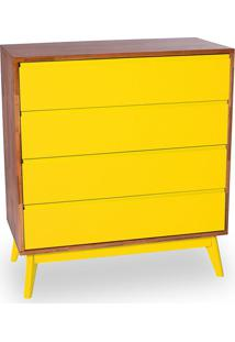 Cômoda Zippe 4 Gv Natural E Amarelo