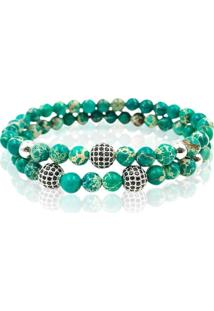 Pulseira Double Green Stone