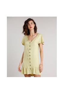 Vestido Feminino Curto Com Babado E Botões Manga Curta Verde Claro