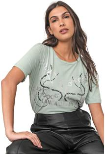Camiseta Lança Perfume Estampada Metalizada Verde