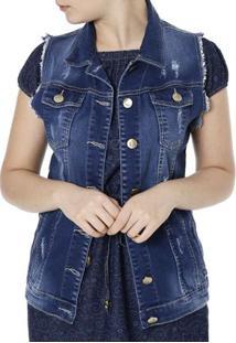 Colete Jeans Feminino Mokkai Azul
