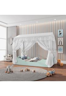 Mini Cama Montessoriana Colorê Marine/Branco E Dossel Branco Pura Magia - Tricae