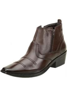 Bota Clacle Coutry Couro Masculina - Masculino-Marrom