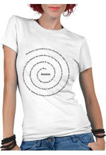 Camiseta Criativa Urbana Oração Pai Nosso Religiosa Gospel - Feminino-Branco