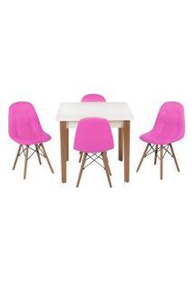 Conjunto Mesa De Jantar Luiza 80Cm Branca Com 4 Cadeiras Botonê - Rosa