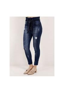 Calça Jeans Clochard Feminina Pisom Azul
