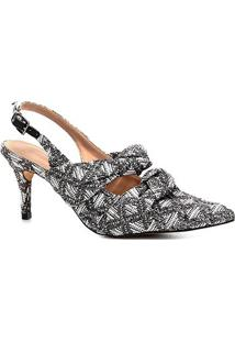 Scarpin Shoestock Salto Baixo Slingback Tecido - Feminino-Branco+Preto