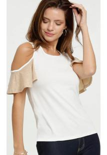 Blusa Feminina Open Shoulder Lurex Manga Curta