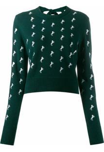 Chloé Suéter Com Estampa De Cavalo - Verde
