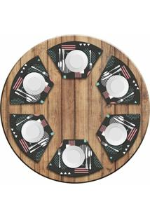 Jogo Americano Love Decor Para Mesa Redonda Wevans Abstract Circulos Kit Com 6 Pçs
