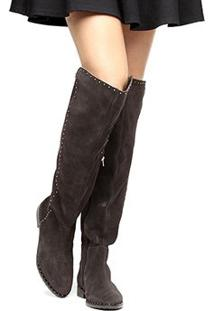 Bota Couro Over The Knee Shoestock Flat Feminina - Feminino-Cafe