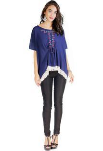 Blusa Com Bordados - Azul Escuro & Vermelhadwz