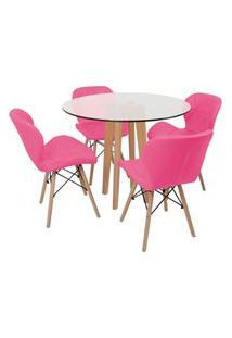Conjunto Mesa De Jantar Em Vidro 90Cm Com Base Vértice + 4 Cadeiras Slim - Rosa