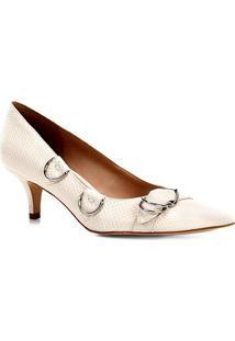 Scarpin Shoestock Salto Baixo Argolas Snake - Feminino-Off White