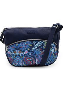 Bolsa Desigual Floral Azul-Marinho
